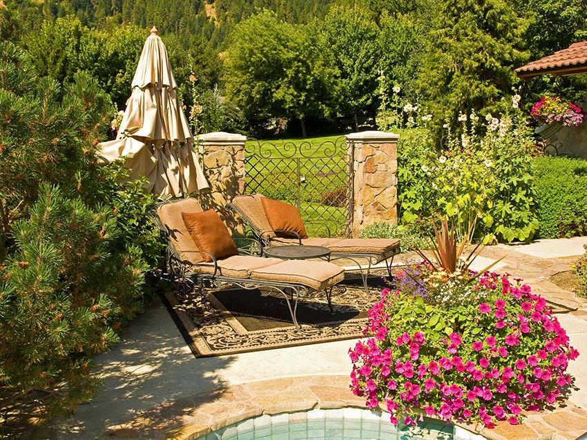 folsom-backyard-hot-tub-hollyhocks-pink-petunia-flowers-fivestar-landscape