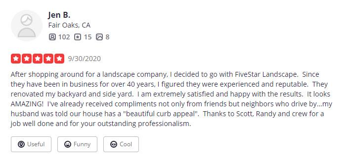 FiveStar Landscape Yelp Reviews